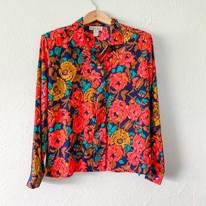 Vintage Floral Button Up Blouse